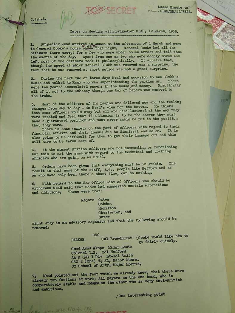 Typed letter confirming that Glubb's papers were despatched to the British Embassy, March 1956