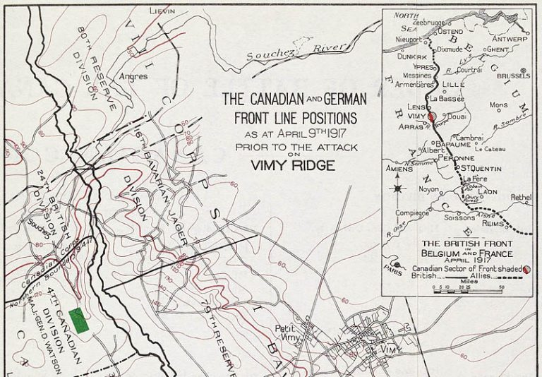A map showing a close-up of part of the Canadian and German military positions. The inset shows the front line, from the North Sea to Reims in the south.