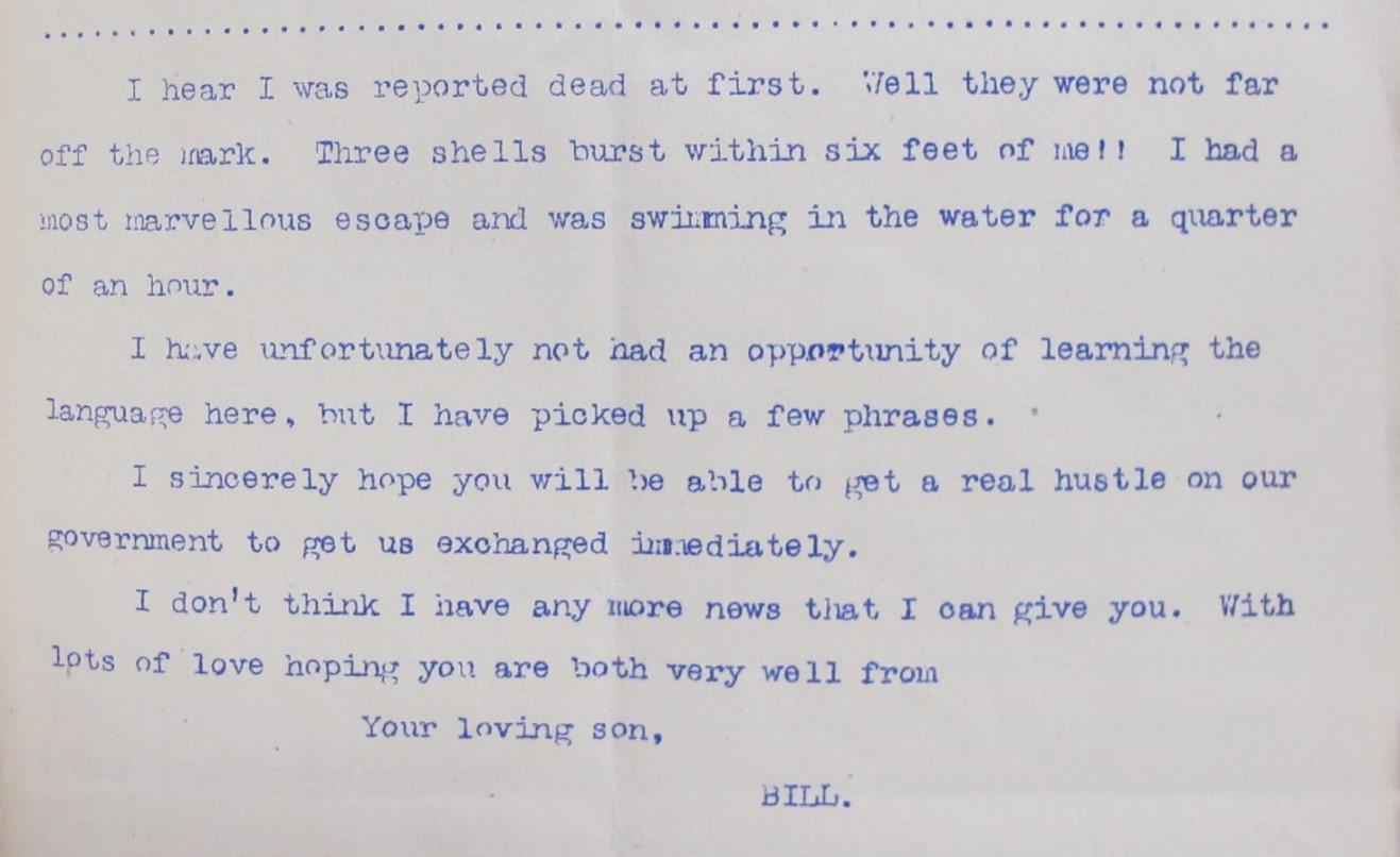 Bremner's letter to his parents detailing his injuries and his hope that his family will fight for a prisoner exchange