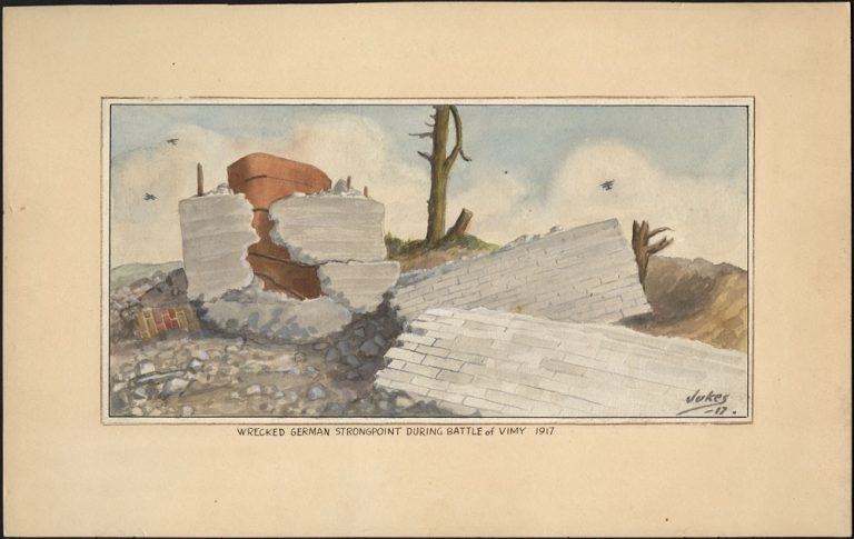 A watercolour of a broken brick and concrete wall scattered over a little hill with broken trees behind it and airplanes flying overhead.
