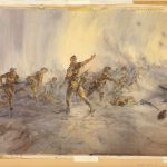 : A colour painting of a group of soldiers charging forth, in various poses of throwing grenades. Others are moving forward with guns and bayonets, while others lay on the ground, dead. The colours of the painting are very light pastels and the soldiers are painted with great delicacy.