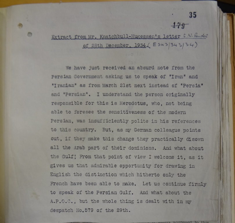 Page of typed text from Knatchbull-Hugessen, detailing the 'absurd' request to us Iran