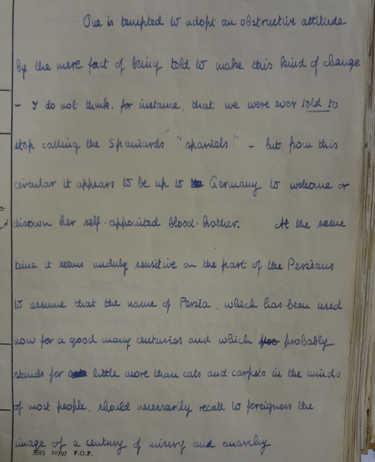 Handwritten minute by Lambert