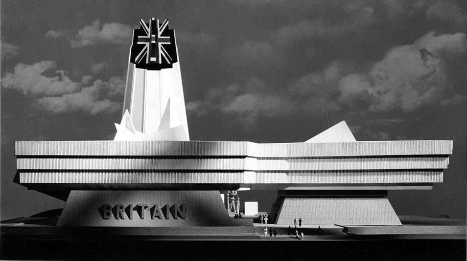 Photograph of a model of the British Pavilion for Expo 67: the proposed building has a tall tower ending in a three dimensional union jack