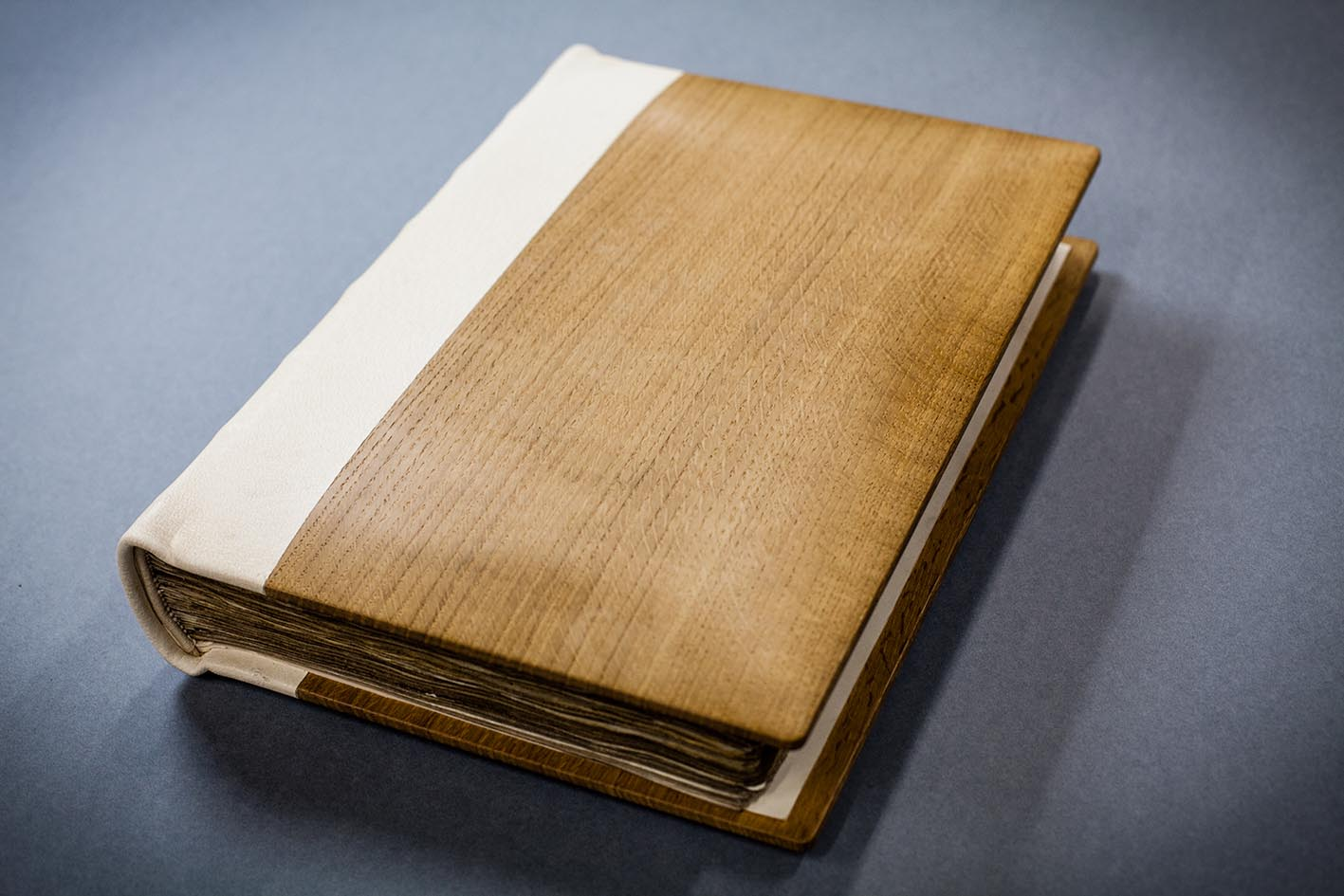 Colour photograph of Great Domesday Book, rebound in 1986 with a light brown cover
