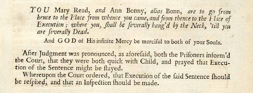 From a report on the trial of Mary Read and Ann(e) Bonny from a pamphlet entitled 'The Tryals of Captain John Rackam and other Pirates' (CO 137/14)
