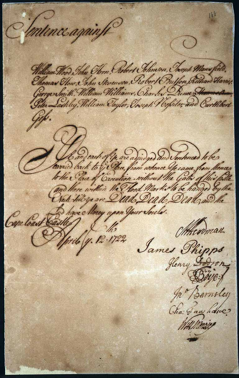 Sentence to death against fifteen crew members of Bartholomew Roberts, 1722