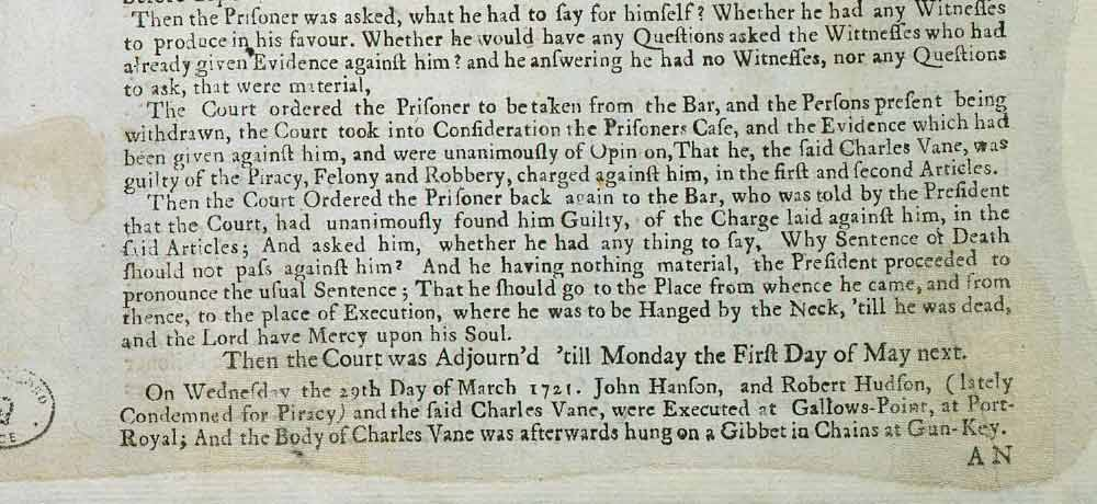 From a report on the trial of Charles Vane from a pamphlet entitled 'The Tryals of Captain John Rackam and other Pirates' (CO 137/14)