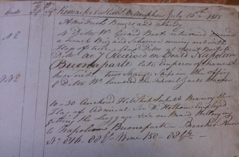 Handwritten log entry from HMS Bellerophon, noting Napoleon's arrival