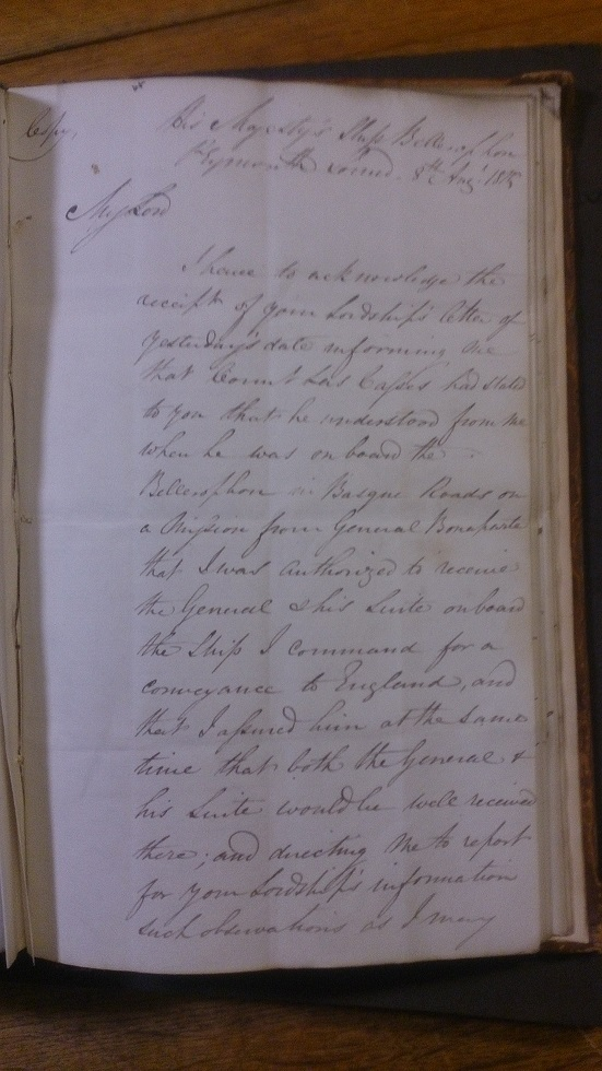 Photograph of the first page of Captain Maitland's handwritten account of Napoleon's surrender
