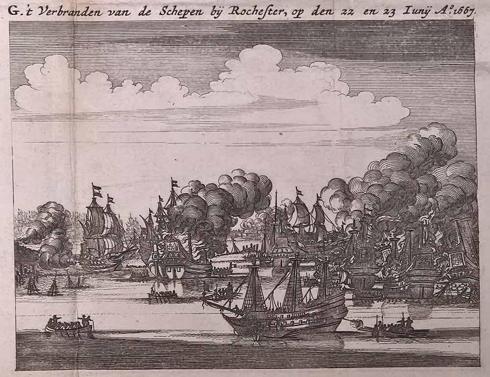 Detail from a Dutch news sheet showing the burning of the ships in the Medway, given as 'at Rochester' in the subtitle