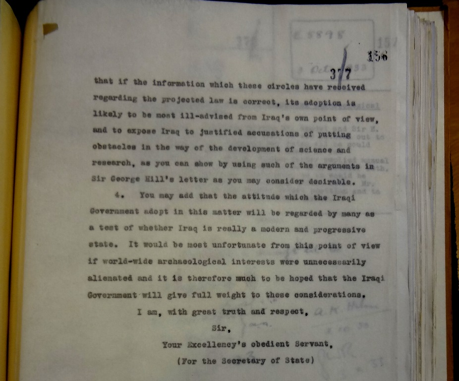 Rendel to Humphrys, 5 October 1933 (catalogue reference: FO 371/16923)