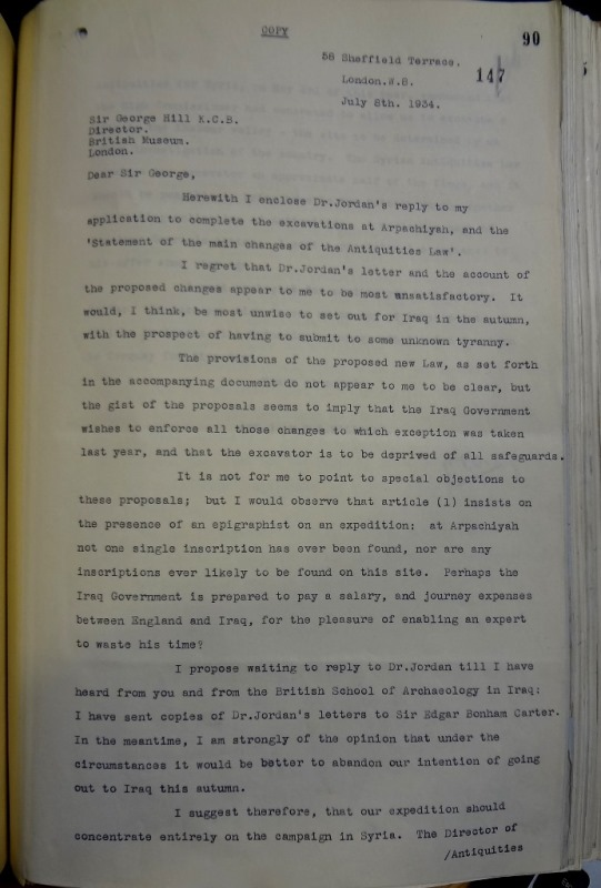 Mallowan to Hill, 8 July 1934 (catalogue reference: FO 371/17871)