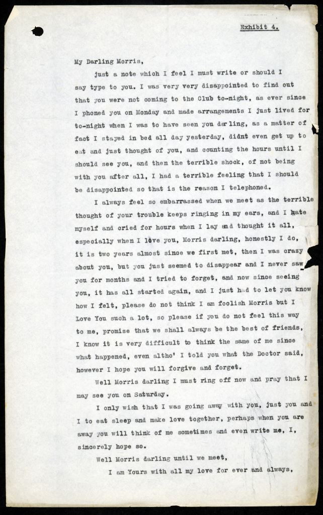 Image of a typed transcript of 'My Darling Morris', a letter from Cyril to Morris. Document reference DPP 2/224