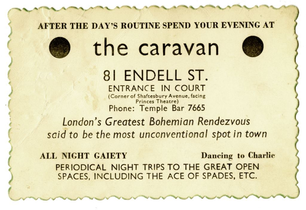 Image of the original ticket for the Caravan Club in Endell Street; it states that the club is 'London's Greatest Bohemian Rendezvous'