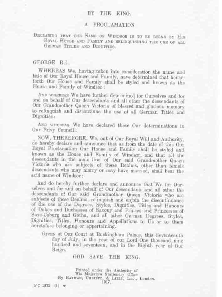Image of the text of the royal proclamation announcing the change of the Royal name