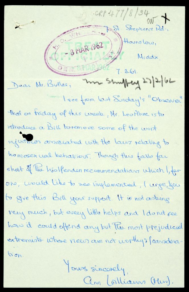 Image of a handwritten letter from Ann Williams, dated 7 March 1961, expressing support for a change in the law