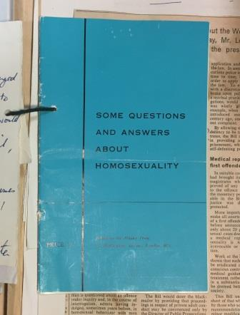 Image of a blue booklet, entitled 'Some questions and answers about homosexuality' from the Albany Trust, the charitable arm of the Homosexual Law Reform Society