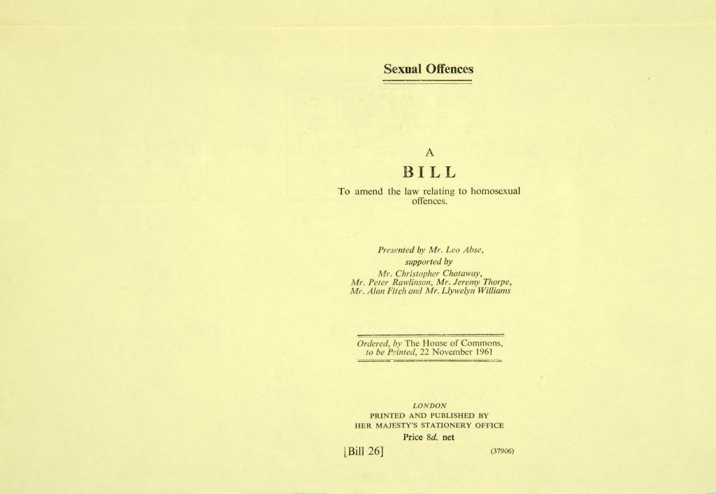 Image of Leo Abse's 1961 bill to amend the law regarding homosexual offences