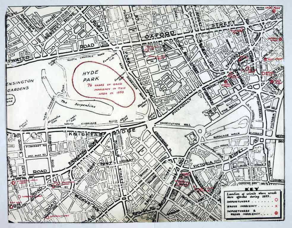 Map noting the locations of urinals in central London where arrests were made during 1953