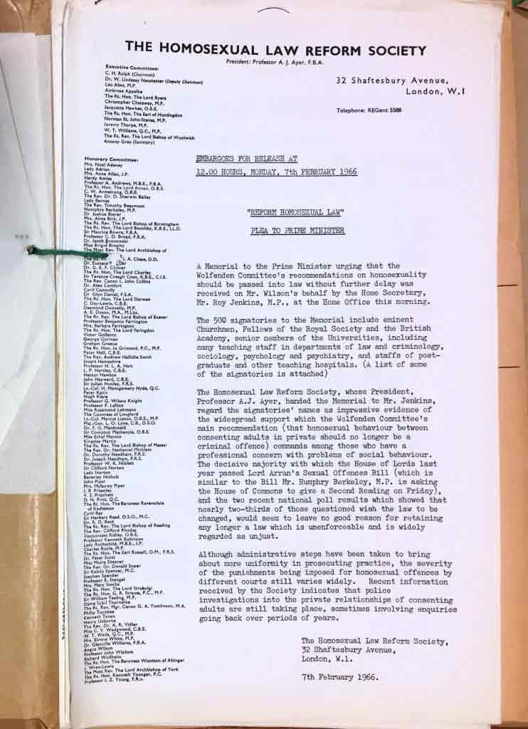 Image of a petition from the Homosexual Law Reform Society urging the government to implement the Wolfenden Reports recommendations, 1966