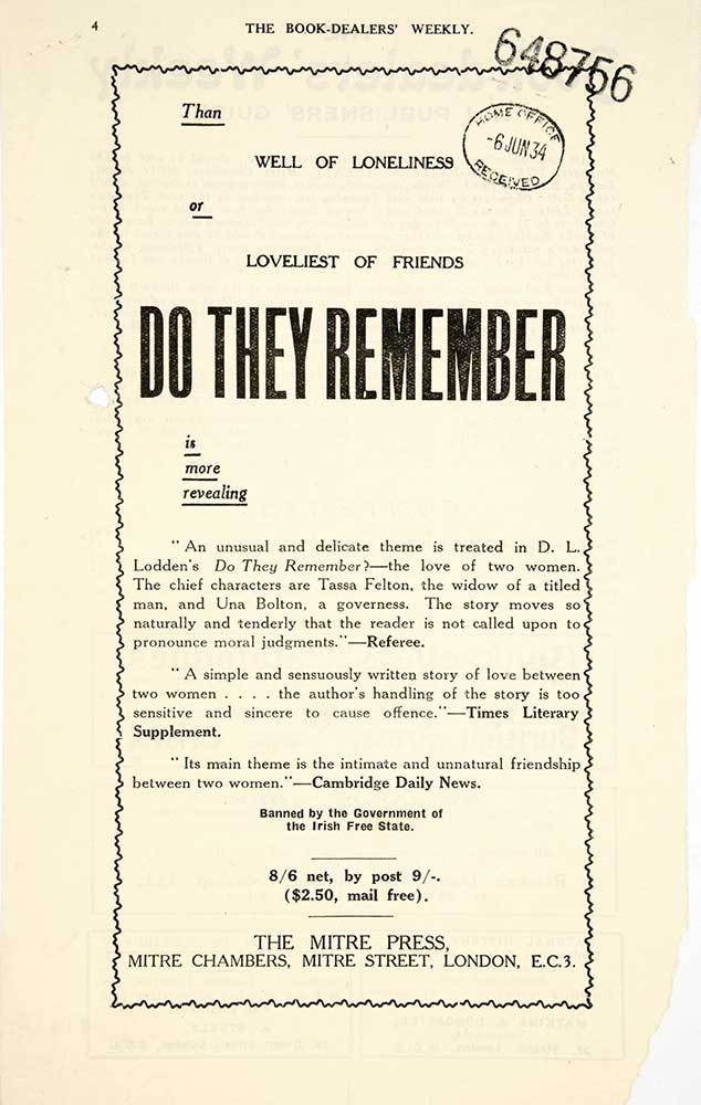Image of an advert for the book 'Do They Remember'