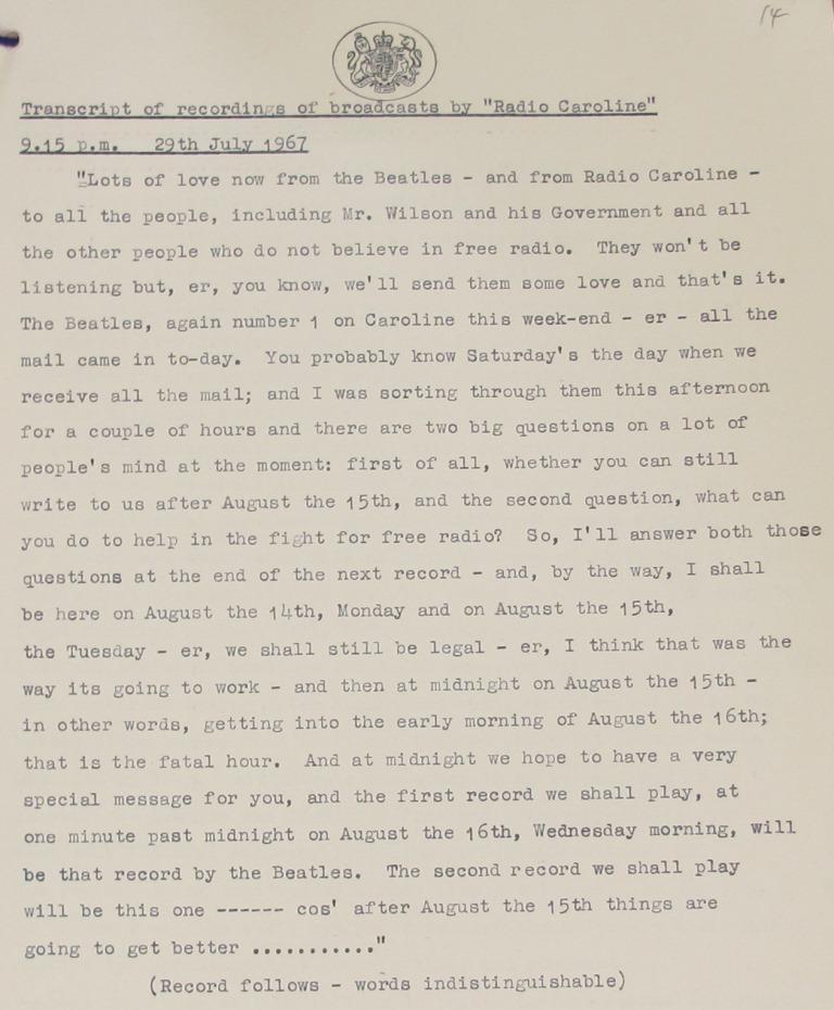 Photograph of a transcript of Radio Caroline Broadcast, 29 July 1967