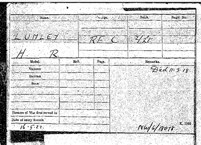 Medal card for Lumley showing his date of death as 11th March 1918