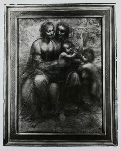 Photograph showing a crack in the perspex protecting a black and white cartoon, The Virgin and Child with St Anne and St John the Baptist'