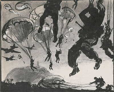 Black and white illustration of soliders parachuting through the air