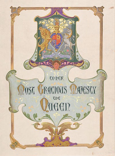 Watercolour address to Queen Victoria on her Diamond Jubilee