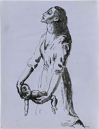 Illustration of a woman carrying a dead baby