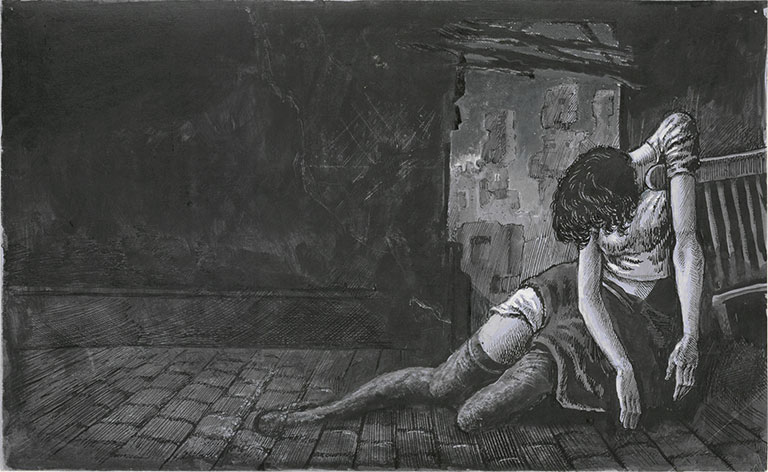 Illustration of a women slumped beside a bed in an empty room