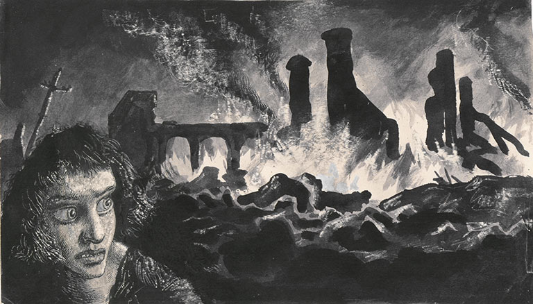 Image of a figure walking away from ruined and burning buildings