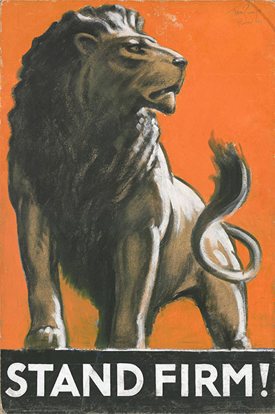 Illustration of a male lion with the words 'STAND FIRM!' underneath
