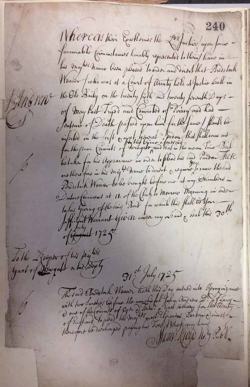 The confirmation of the pardon of Bridstock Weaver