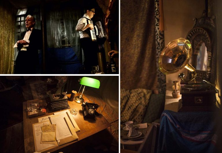 Top left: Chris Green as Fred Barnes - Niall O'Rourke. Bottom left and right: Police desk and gramophone - Sophia Schorr
