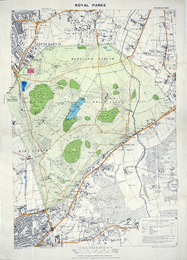 Map of Richmond Park showing the location of the South African Military Hospital