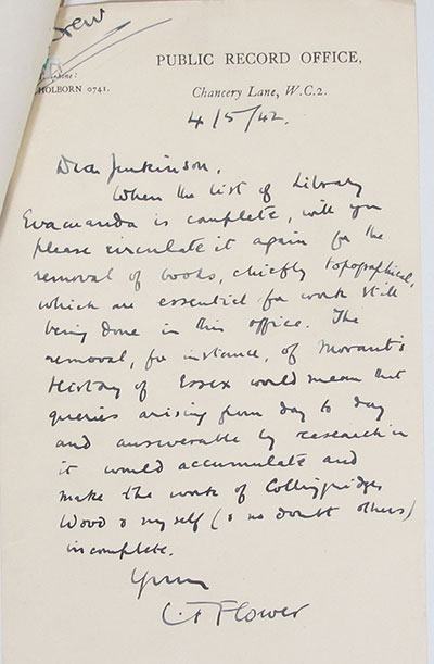 Memo from Cyril Flower, expressing concern at the evacuation of library books crucial to his work.