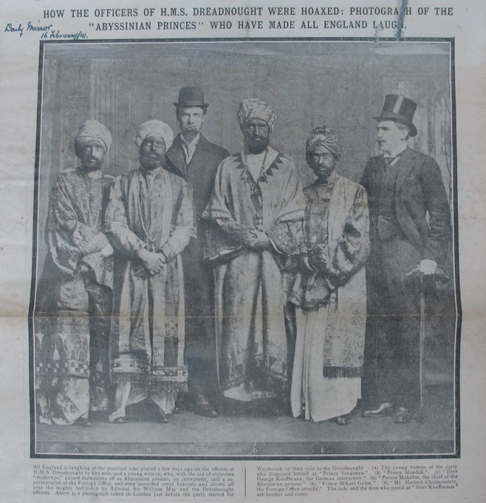 Virginia Woolf (far left) and the other 'Abyssinian Princes' (ADM 1/8192)