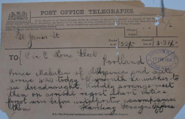 Telegram supposedly from Sir Charles Hardinge (ADM 1/8192)
