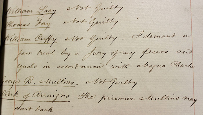 William Cuffey's plea 'Not Guilty - I demand a fair trial by a jury of my peers and equals' (TS 36/43)