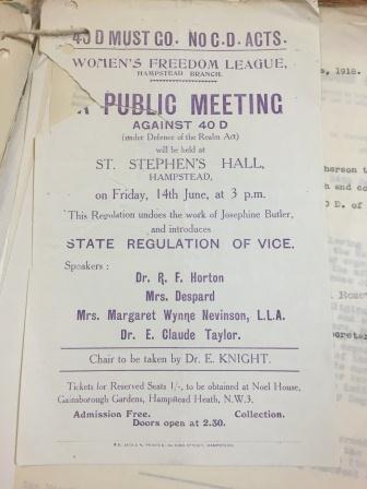 HO 45/10893/359931 Women's Freedom League leaflet for a meeting opposing regulation 40D.