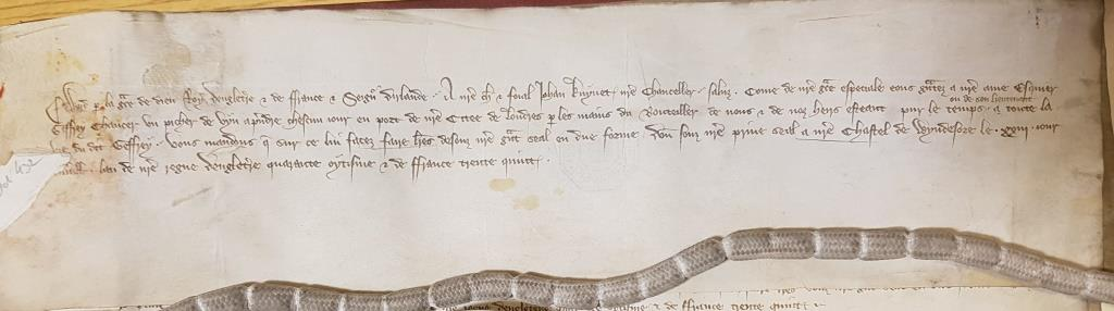 Royal warrant granting Chaucer the annual gift of a pitcher of wine, to be redeemed from the Port of London [Catalogue reference: C 81/436/30091]