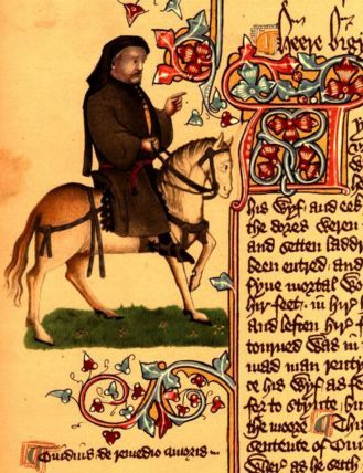 Geoffrey Chaucer as depicted in the Ellesmere Canterbury Tales (source: Wikicommons)