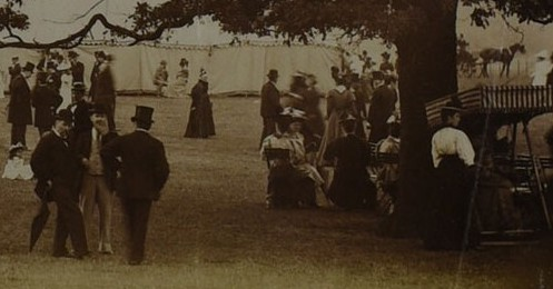 Close up of photograph of flower show held in Old Deer Park, Richmond, 1902