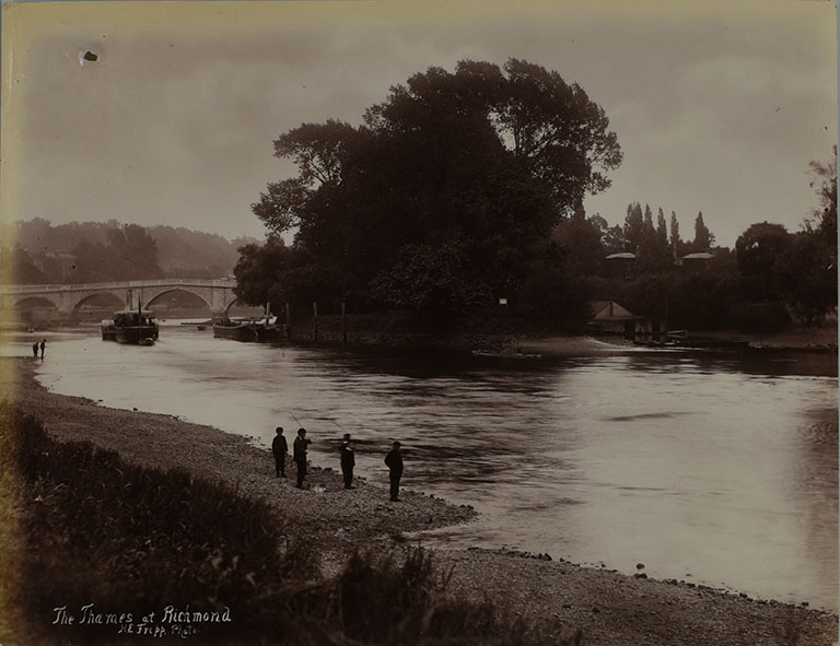 Photograph of the Thames at Richmond with steamer, 1885