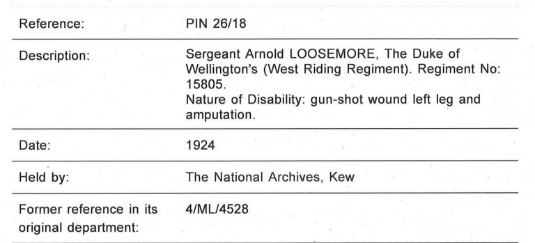 Detailed entry for Sergeant Arnold Loosemore, including details of the nature of his disability