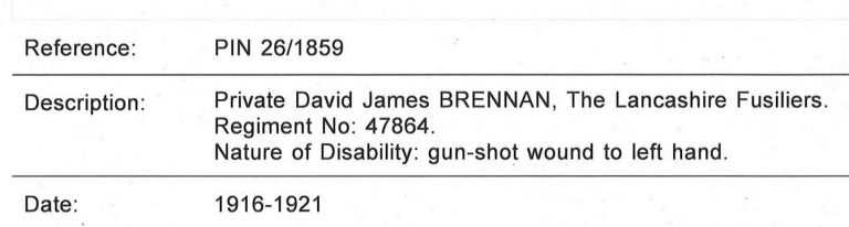 Entry for Private David Brennan, including details of the nature of his disability