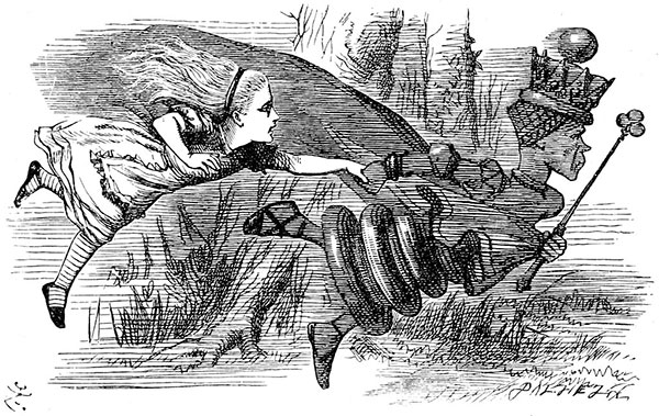 Illustration by John Tenniel of Alice and the Red Queen